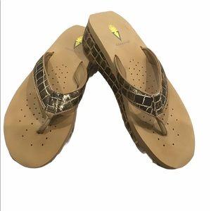 Volatile Flip Flops, Metallic Gold/Brown